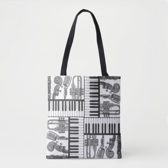 Jazz Musical Instruments Black and White Tote