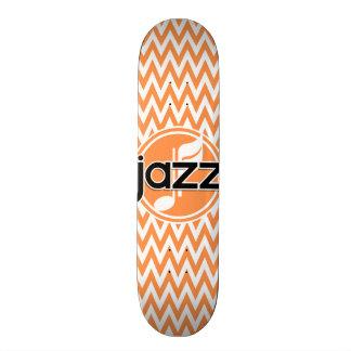 Jazz; Orange and White Chevron Custom Skate Board