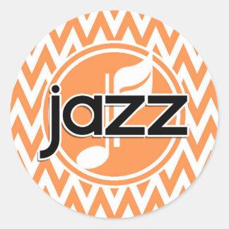 Jazz Orange and White Chevron Sticker