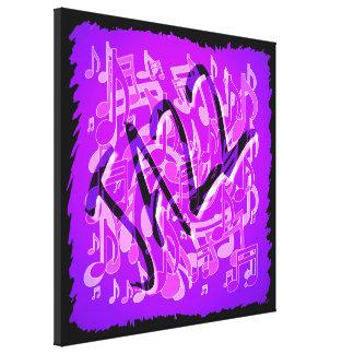 Jazz Purple Violet Music Notes Expressive Art Gallery Wrap Canvas