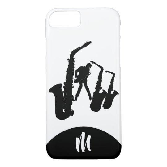 Jazz Sax Black Saxophonist 2 Monogram Iphone Case