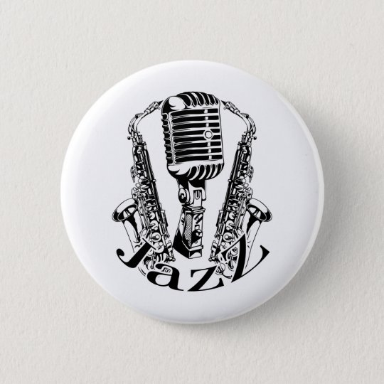 Jazz ~ Saxophone Sax Microphone Music 6 Cm Round Badge