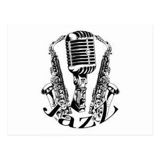 Jazz ~ Saxophone Sax Microphone Music Postcard