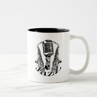 Jazz ~ Saxophone Sax Microphone Music Two-Tone Coffee Mug