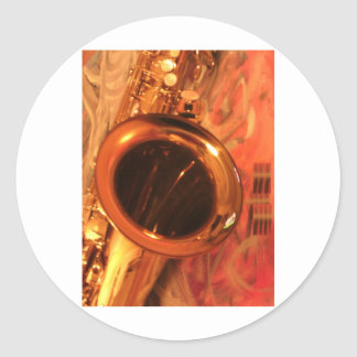 Jazz Saxophone with abstract art:  Awesome! Classic Round Sticker