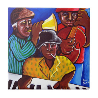 Jazz Trio African American Folk Art Tile