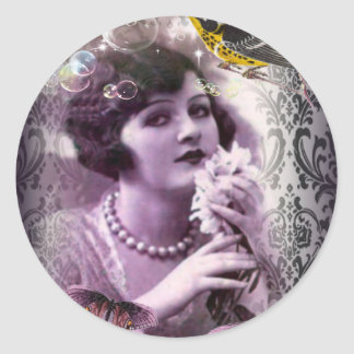 Jazz Vintage damask 1920s Lady Flapper Girl Paris Round Sticker