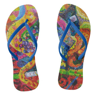 Jazzy Abstract Flip Flops