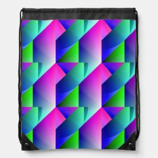 Jazzy Blue Pattern Drawstring Bag