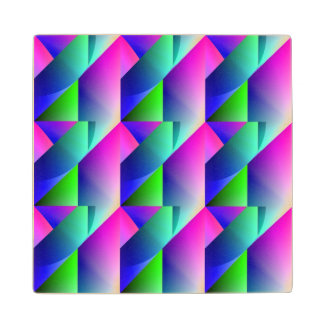 Jazzy Blue Pattern Wood Coaster