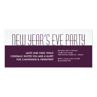 Jazzy deco plum white purple holiday formal party 10 cm x 24 cm invitation card