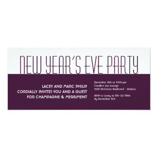 Jazzy deco plum white purple holiday formal party 10 cm x 24 cm invitation card
