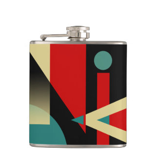 Jazzy Geometric Pattern | black teal red beige Hip Flask