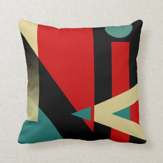 Jazzy Geometric Pattern | black teal red beige Throw Pillow