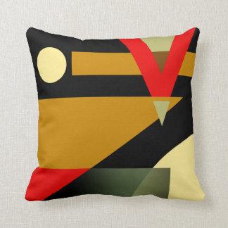 Jazzy Geometric Pattern   gold red beige black Cushion