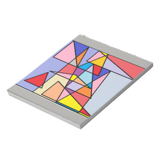 Jazzy geometric print, colorful triangles notepad