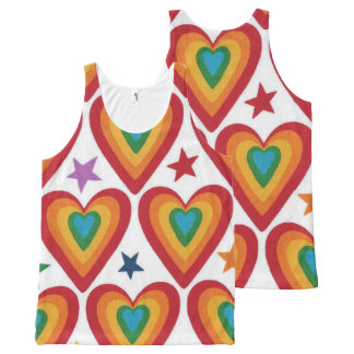 Jazzy Hearts Men/Women Tank Top All-Over Print Tank Top