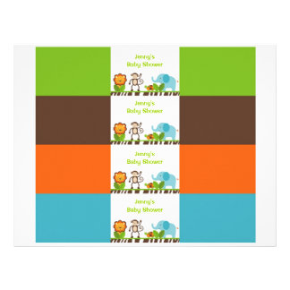 Jazzy Jungle Animal Water Bottle Labels 21.5 Cm X 28 Cm Flyer