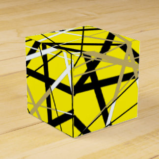 JAZZY LINES yellow and gold Party Favour Boxes
