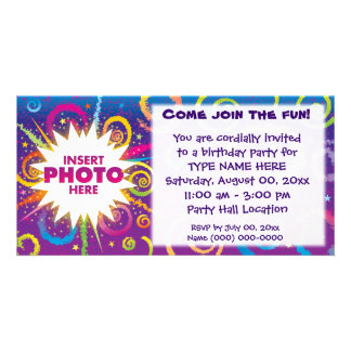 jazzy party swirls photo card template