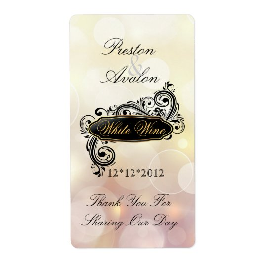 Jazzy Pink Bokeh Wedding Wine Label Shipping Label