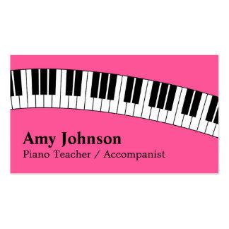 Jazzy Pink, Modern, Fun, Piano Teacher for Kids Business Card Templates