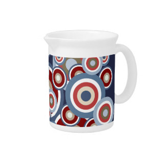 Jazzy Red White Blue Cream Circles Pattern Pitcher