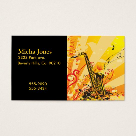 Jazzy Saxophone Beams Of Music Business Card