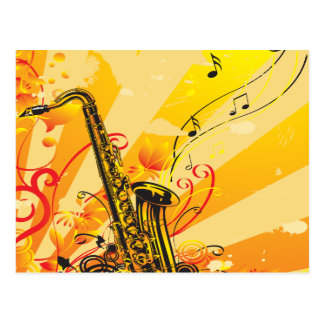 Jazzy Saxophone Beams Of Music Postcard