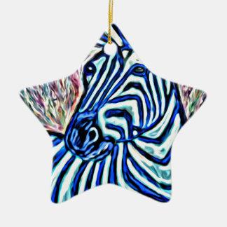 Jazzy zebra christmas ornament