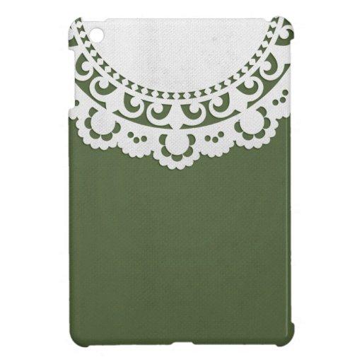 JC8 DARK FOREST GREEN WHITE DECORATIVE DOILY BACKG iPad MINI COVER