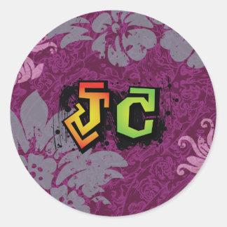 JC Jesus Christ hiphop green Classic Round Sticker