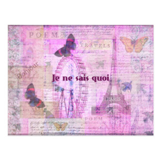 Je ne sais quoi  - French Phrase - Paris Theme art Postcard