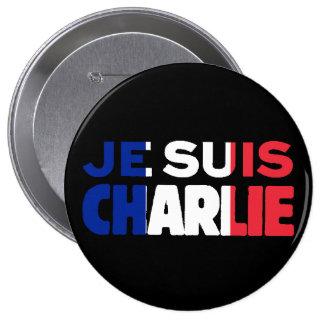 Je Suis Charlie -I am Charlie Tri-Color of France 10 Cm Round Badge