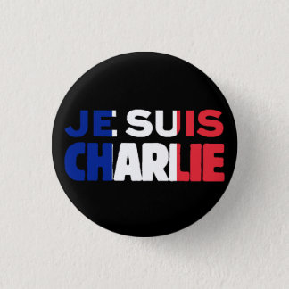 Je Suis Charlie -I am Charlie Tri-Color of France 3 Cm Round Badge
