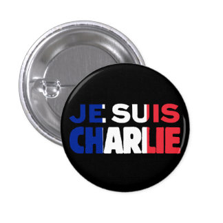 Je Suis Charlie -I am Charlie Tri-Color of France 3 Cm Round Badge