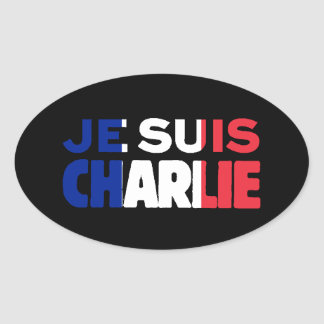 Je Suis Charlie -I am Charlie Tri-Color of France Oval Sticker