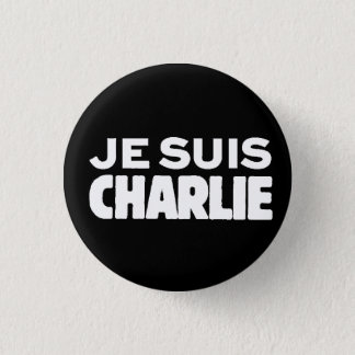 Je Suis Charlie-I am Charlie-White on Black 3 Cm Round Badge