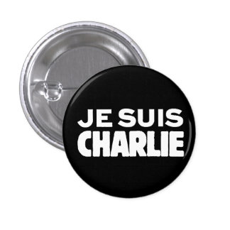 Je Suis Charlie-I am Charlie-White on Black 3 Cm Round Badge