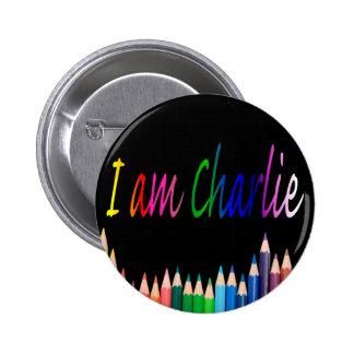 Je Suis Charlie rainbow pencils 6 Cm Round Badge