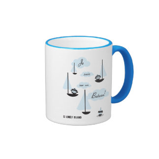 Je suis sur un Bateau! Ringer Coffee Mug