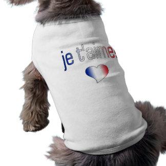 Je t aime French Flag Colors Dog Tshirt