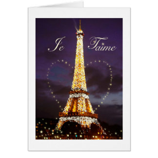 JE T AIME LOVE FROM PARIS VALENTINE CARDS
