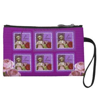 Je T'aime Purple Romantic Girl Vintage Collage Wristlet Clutch