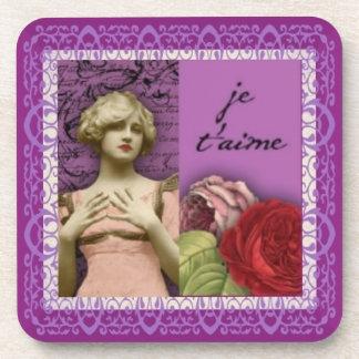 Je T'aime Purple Romantic Girl Vintage Collage Coaster
