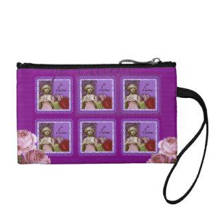 Je T'aime Purple Romantic Girl Vintage Collage Coin Wallets