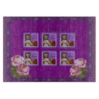 Je T'aime Purple Romantic Girl Vintage Collage Cutting Board