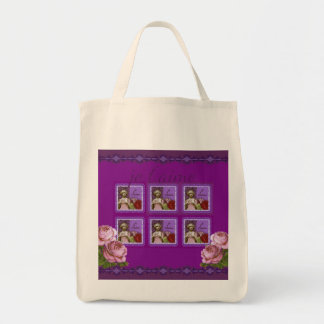 Je T'aime Purple Romantic Girl Vintage Collage Grocery Tote Bag