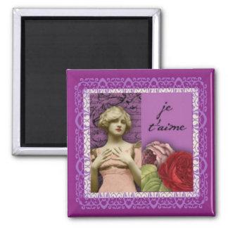 Je T'aime Purple Romantic Girl Vintage Collage Square Magnet