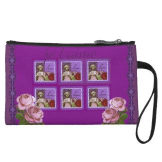 Je T'aime Purple Romantic Girl Vintage Collage Wristlet